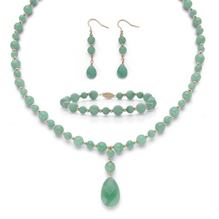 """Round Genuine Green Jade Solid 10k Yellow Gold """"Y"""" Style Beaded Necklace, Bracelet and Drop Earrings Set 20"""" at PalmBeach Jewelry"""