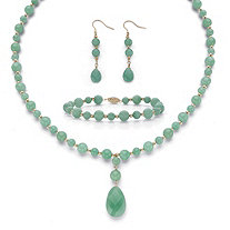 "Round Genuine Green Jade Solid 10k Yellow Gold ""Y"" Style Beaded Necklace, Bracelet and Drop Earrings Set 20"""