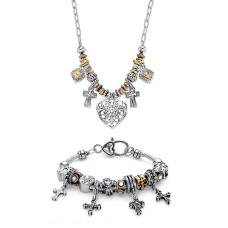 """Inspirational Heart and Cross Two-Tone Beaded Charm Necklace and Bracelet Set in Antiqued Gold Tone and Silvertone 20"""" at PalmBeach Jewelry"""