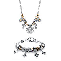 Inspirational Heart and Cross Two-Tone Beaded Charm Necklace and Bracelet Set in Antiqued Gold Tone and Silvertone 20""