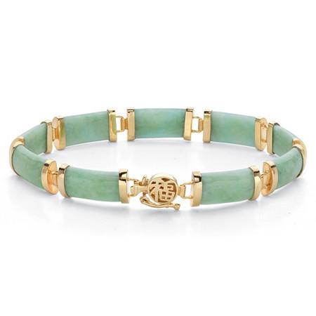"Genuine Green Jade 18k Gold-Plated Rectangular Link Bracelet 7.5"" at PalmBeach Jewelry"