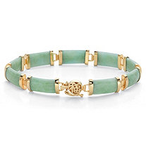 Genuine Green Jade 18k Gold-Plated Rectangular Link Bracelet 7.5""
