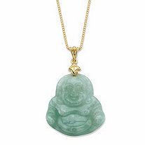 Genuine Green Jade Buddha Pendant Necklace in 18k Gold Over Sterling Silver 18""