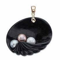 Genuine Black Jade and Freshwater Cultured Pearl 14k Yellow Gold Shell Pendant