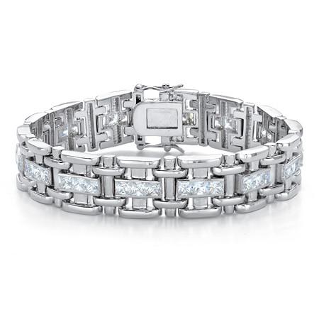 "Men's Square-Cut Cubic Zirconia 10.35 TCW Bar-Link Bracelet in Silvertone 8.25"" at PalmBeach Jewelry"