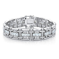 Men's Square-Cut Cubic Zirconia 10.35 TCW Bar-Link Bracelet in Silvertone 8.25""