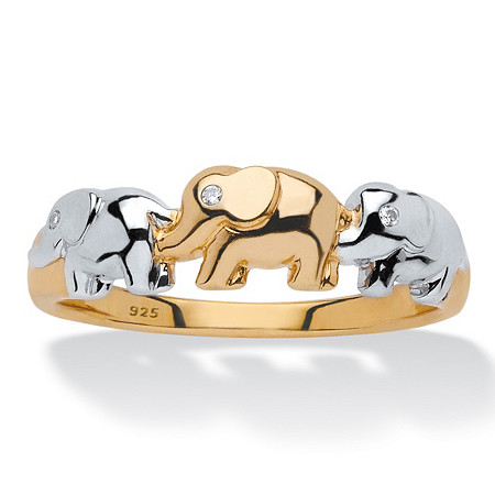 Round Diamond Accent Two-Tone Elephant Ring in 18k Gold over Sterling Silver at PalmBeach Jewelry