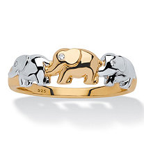 Round Diamond Accent Two-Tone Elephant Ring in 18k Gold over Sterling Silver