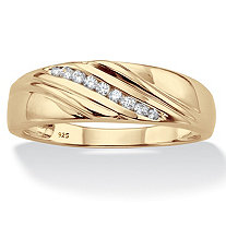 Men's Round Diamond Diagonal Grooved Ring 1/8 TCW in 18k Gold over Sterling Silver