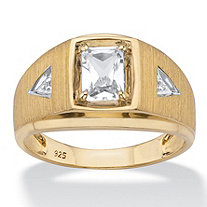 Men's Emerald-Cut Created White Sapphire and Diamond Accent Ring 1.16 TCW in 18k Gold over Sterling Silver