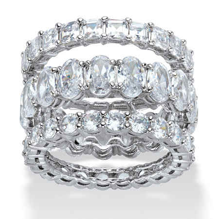 Oval, Round and Princess-Cut Cubic Zirconia 3-Piece Eternity Ring Set 13.56 TCW in Platinum-Plated at PalmBeach Jewelry