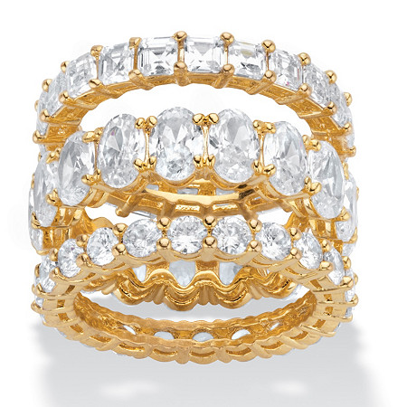 Oval, Round and Princess-Cut Cubic Zirconia 3-Piece Eternity Ring Set 13.56 TCW  14k Gold-Plated at PalmBeach Jewelry