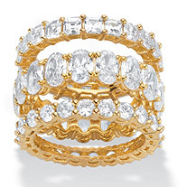 Oval, Round and Princess-Cut Cubic Zirconia 3-Piece Eternity Ring Set 13.56 TCW  14k Gold-Plated
