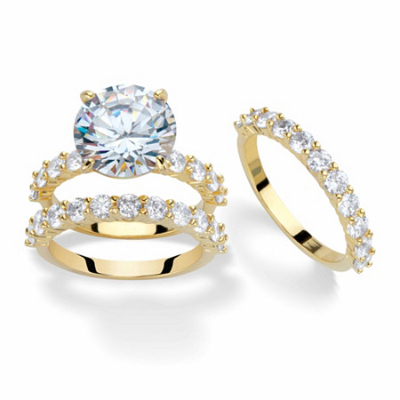 Round Cubic Zirconia 2-Piece Bridal Ring Set 9.20 TCW Gold-Plated with Matching FREE BONUS Ring at PalmBeach Jewelry