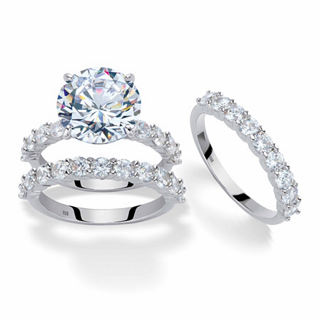 Round Cubic Zirconia 2-Piece Bridal Ring Set 9.20 TCW Platinum-Plated with Matching FREE BONUS Ring at PalmBeach Jewelry