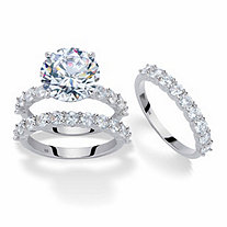 Round Cubic Zirconia 2-Piece Bridal Ring Set 9.20 TCW Platinum-Plated with Matching FREE BONUS Ring