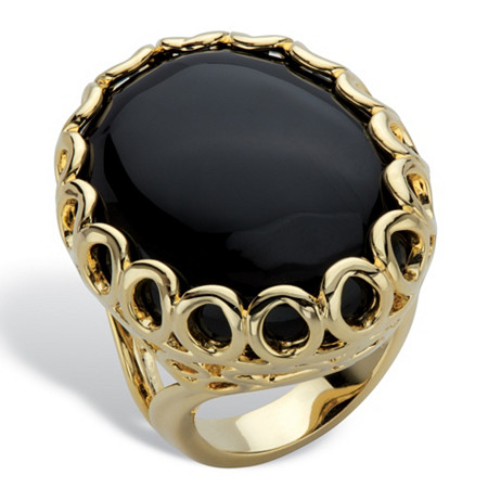 Oval Simulated Black Onyx 14k Gold-Plated Scalloped Cocktail Ring at PalmBeach Jewelry