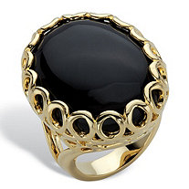 Oval Simulated Black Onyx 14k Gold-Plated Scalloped Cocktail Ring