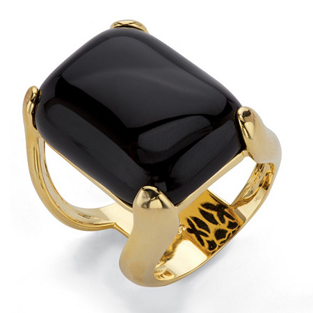 Rectangle Simulated Black Onyx Pillow Ring 14k Gold-Plated at PalmBeach Jewelry