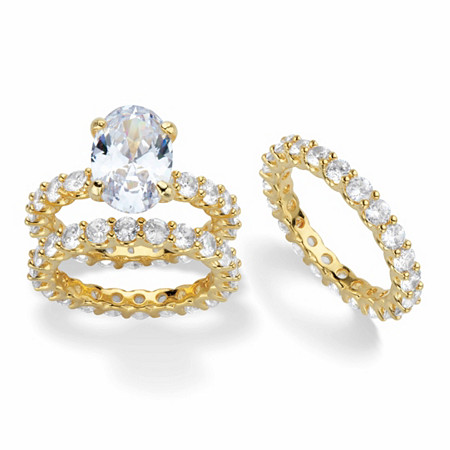 Oval-Cut Cubic Zirconia 3-Piece Eternity Wedding Ring Set 12.31 TCW 14k Gold-Plated at PalmBeach Jewelry