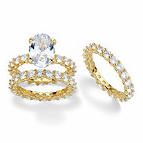 Oval-Cut Cubic Zirconia 3-Piece Eternity Wedding Ring Set 12.31 TCW 14k Gold-Plated
