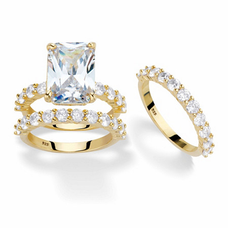 Emerald-Cut Cubic Zirconia 2-Piece Wedding Ring Set 9.20 TCW in 14k Gold over Sterling Silver with FREE BONUS Bridal Ring at PalmBeach Jewelry