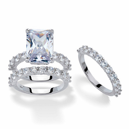 Emerald-Cut Cubic Zirconia Platinum over Sterling Silver 2-Piece Wedding Ring Set with FREE BONUS Ring (9.20 cttw) at PalmBeach Jewelry