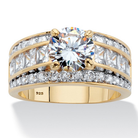 Round and Princess-Cut Cubic Zirconia Engagement Ring 4.60 TCW in 14k Gold over Sterling Silver at PalmBeach Jewelry