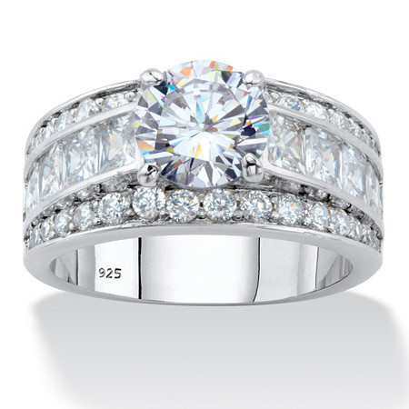 Round and Princess-Cut Cubic Zirconia Engagement Ring 4.60 TCW in Platinum over Sterling Silver at PalmBeach Jewelry