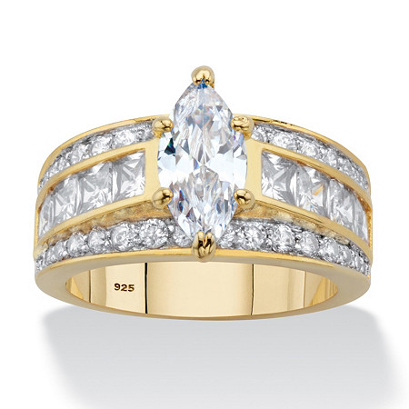 Marquise and Princess-Cut Cubic Zirconia Engagement Ring 4.60 TCW in 14k Gold over Sterling Silver at PalmBeach Jewelry