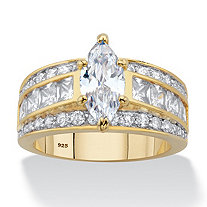 Marquise and Princess-Cut Cubic Zirconia Engagement Ring 4.60 TCW in 14k Gold over Sterling Silver