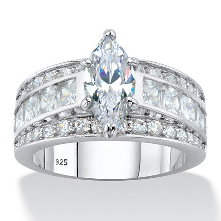 Marquise-Cut and Princess-Cut Cubic Zirconia Engagement Ring 4.60 TCW in Platinum over Sterling Silver at PalmBeach Jewelry