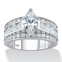 Marquise-Cut and Princess-Cut Cubic Zirconia Engagement Ring 4.60 TCW in Platinum over Sterling Silver