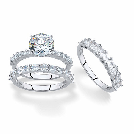 Round and Princess-Cut Cubic Zirconia 2-Piece Bridal Ring Set 5.73 TCW in Platinum over Sterling Silver with FREE BONUS Bridal Ring at PalmBeach Jewelry