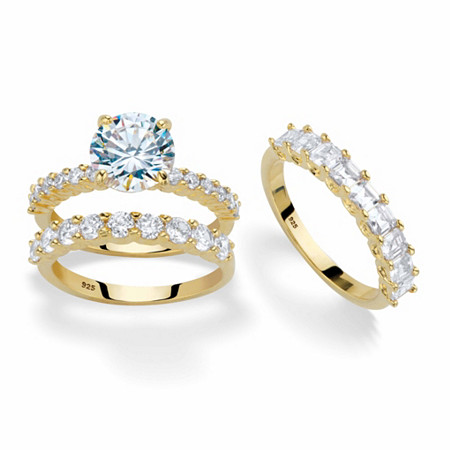 Round and Princess-Cut Cubic Zirconia 3-Piece Bridal Ring Set 5.73 TCW in 14k Gold over Sterling Silver at PalmBeach Jewelry