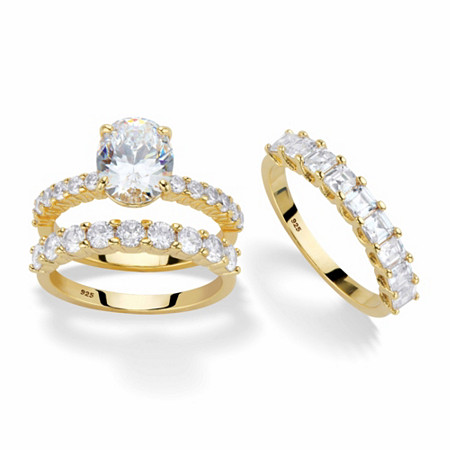 Oval-Cut and Princess-Cut Cubic Zirconia 2-Piece Bridal Ring Set 5.07 TCW in 14k Gold over Sterling Silver with FREE BONUS Ring at PalmBeach Jewelry