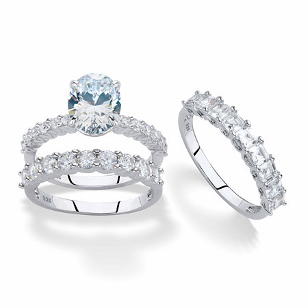 Oval-Cut and Princess-Cut Cubic Zirconia 2-Piece Bridal Ring Set 5.07 TCW in Platinum over Sterling Silver with FREE BONUS Ring at PalmBeach Jewelry