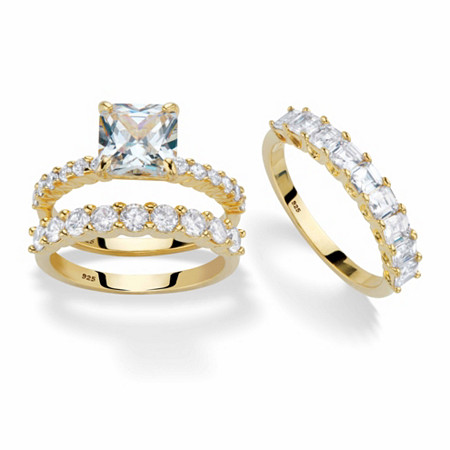 Princess-Cut and Round Cubic Zirconia 3-Piece Bridal Ring Set 4.23 TCW in 14k Gold over Sterling Silver with FREE BONUS Ring at PalmBeach Jewelry
