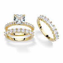 Princess-Cut and Round Cubic Zirconia 3-Piece Bridal Ring Set 4.23 TCW in 14k Gold over Sterling Silver with FREE BONUS Ring