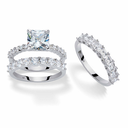 Princess-Cut and Round Cubic Zirconia 3-Piece Bridal Ring Set 4.23 TCW in Platinum over Sterling Silver with FREE BONUS Ring at PalmBeach Jewelry