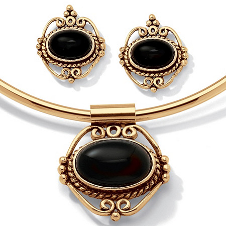 Genuine Bezel-Set Oval Onyx 2-Piece Necklace and Earrings Set in Antiqued Goldtone 16