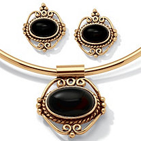 Genuine Bezel-Set Oval Onyx 2-Piece Necklace and Earrings Set in Antiqued Goldtone 16""