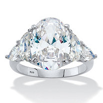 Oval, Half-Moon and Pear-Cut Cubic Zirconia Engagement Ring 8.59 TCW in Platinum over Sterling Silver