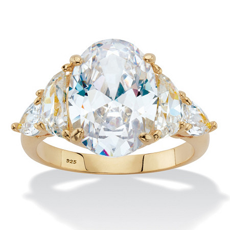 Oval, Half-Moon and Trillion-Cut Cubic Zirconia Engagement Ring 8.59 TCW in 14k Gold over Sterling Silver at PalmBeach Jewelry
