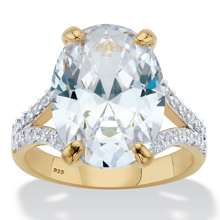 Oval-Cut Cubic Zirconia Split-Shank Engagement Ring 9.80 TCW in 14k Gold over Sterling Silver at PalmBeach Jewelry
