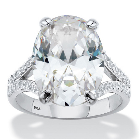 Oval-Cut Cubic Zirconia  Split-Shank Engagement Ring 9.80 TCW in Platinum over Sterling Silver at PalmBeach Jewelry