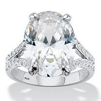 Oval-Cut Cubic Zirconia Split-Shank Engagement Ring 9.80 TCW in Platinum over Sterling Silver