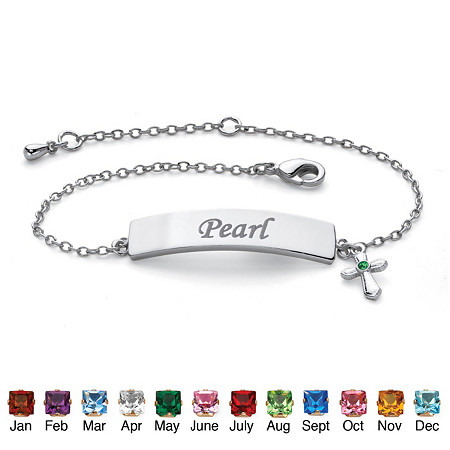 "Personalized Birthstone Cross Charm I.D. Bracelet Platinum-Plated  6.5""-7.5"" at PalmBeach Jewelry"