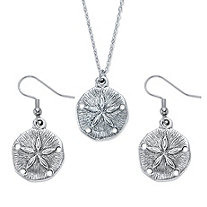 Sand Dollar 2-Piece Textured Drop Earrings and Pendant Necklace Set in Antiqued Silvertone 18""