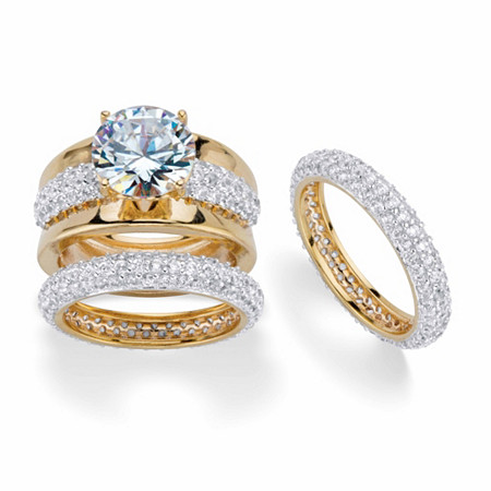 Round Cubic Zirconia 2-Piece Wedding Ring Set 8.26 TCW 18k Gold-Plated with FREE BONUS Ring at PalmBeach Jewelry